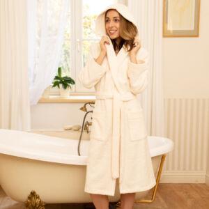 Pure beige fürdőköntös kapucnival